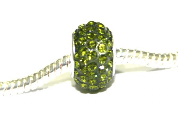 Olive green 12mm x 8mm Pave crystal bead with 5mm hole PD-S-12- 19